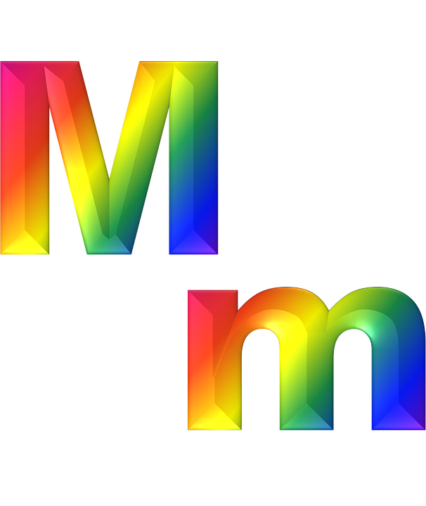 letter m 3d abc alphabet rainbow gradient bright - Letter M HD PNG