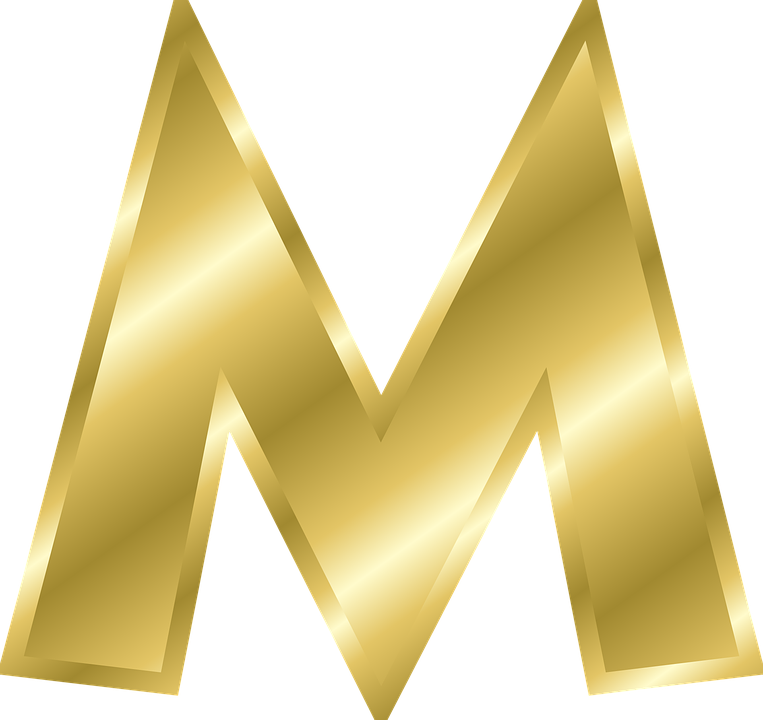 Letter, M, Capital Letter, Alphabet, Abc, Gold - Letter M HD PNG