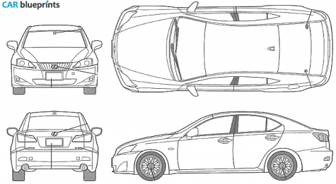 2006 Lexus IS 250 Sedan blueprint - Lexus Auto Vector PNG