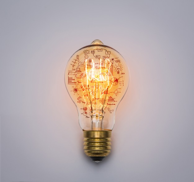 Light bulb with drawing graph - Light Bulb PNG