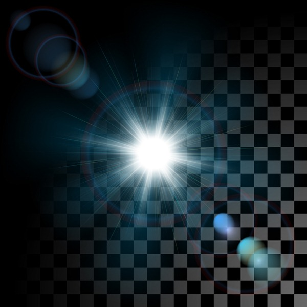 Dazzling light effects checkered background vector graphics - Light Effect PNG