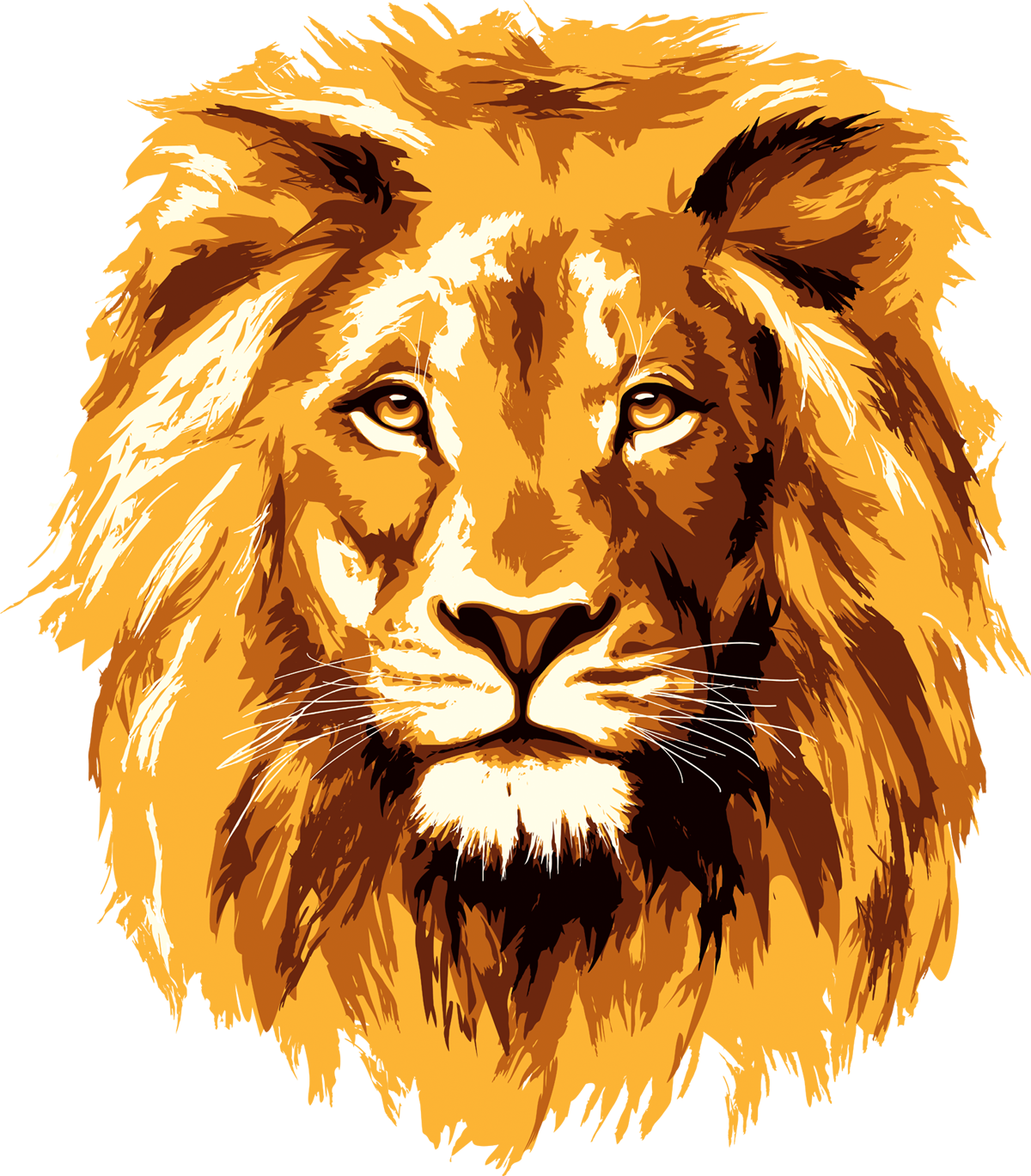 Golden lion face vector, Image Size: 1200 x 1368, Image Size : 1522 KB - Lion And Den PNG