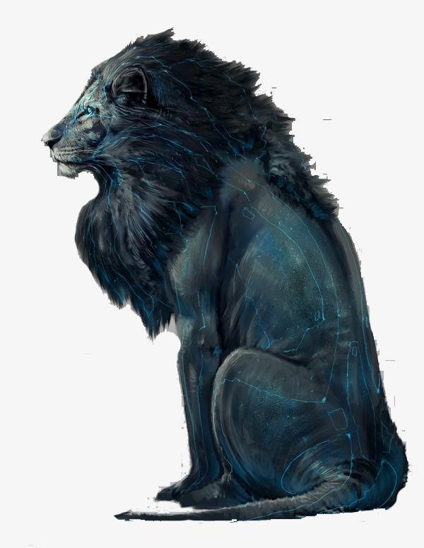 Lion assis de la peinture à l huile Gratuit PNG et Clipart - Lion Assis PNG