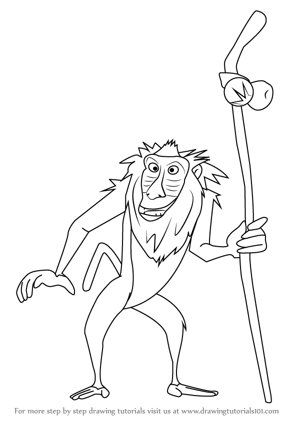 How to Draw Rafiki from The Lion King - Lion King PNG Black And White