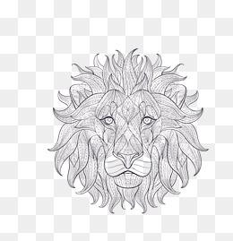 vector gray cartoon sketch lion king head, Vector Lion King, Gray Lion King, - Lion King PNG Black And White