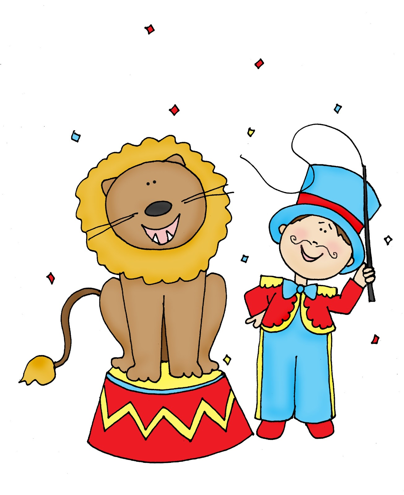 Circus Lion Tamer color and B/W - Lion Tamer PNG