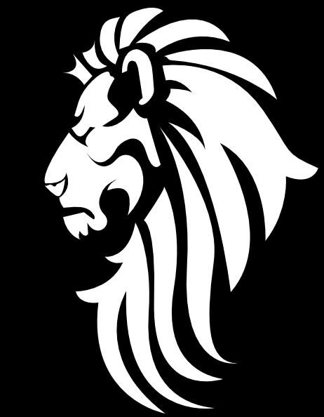 Black White Lion Head clip art - vector clip art online, royalty - Lions Head HD PNG