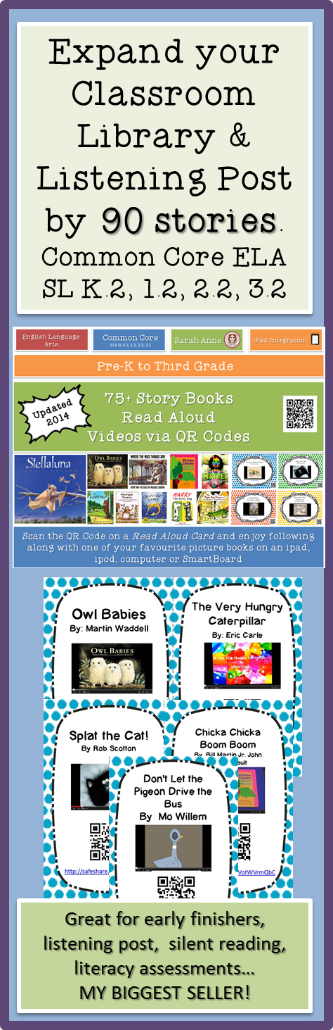 75 Story Time Read Aloud Picture Books with QR Codes Cards - Listen To Reading Ipad PNG