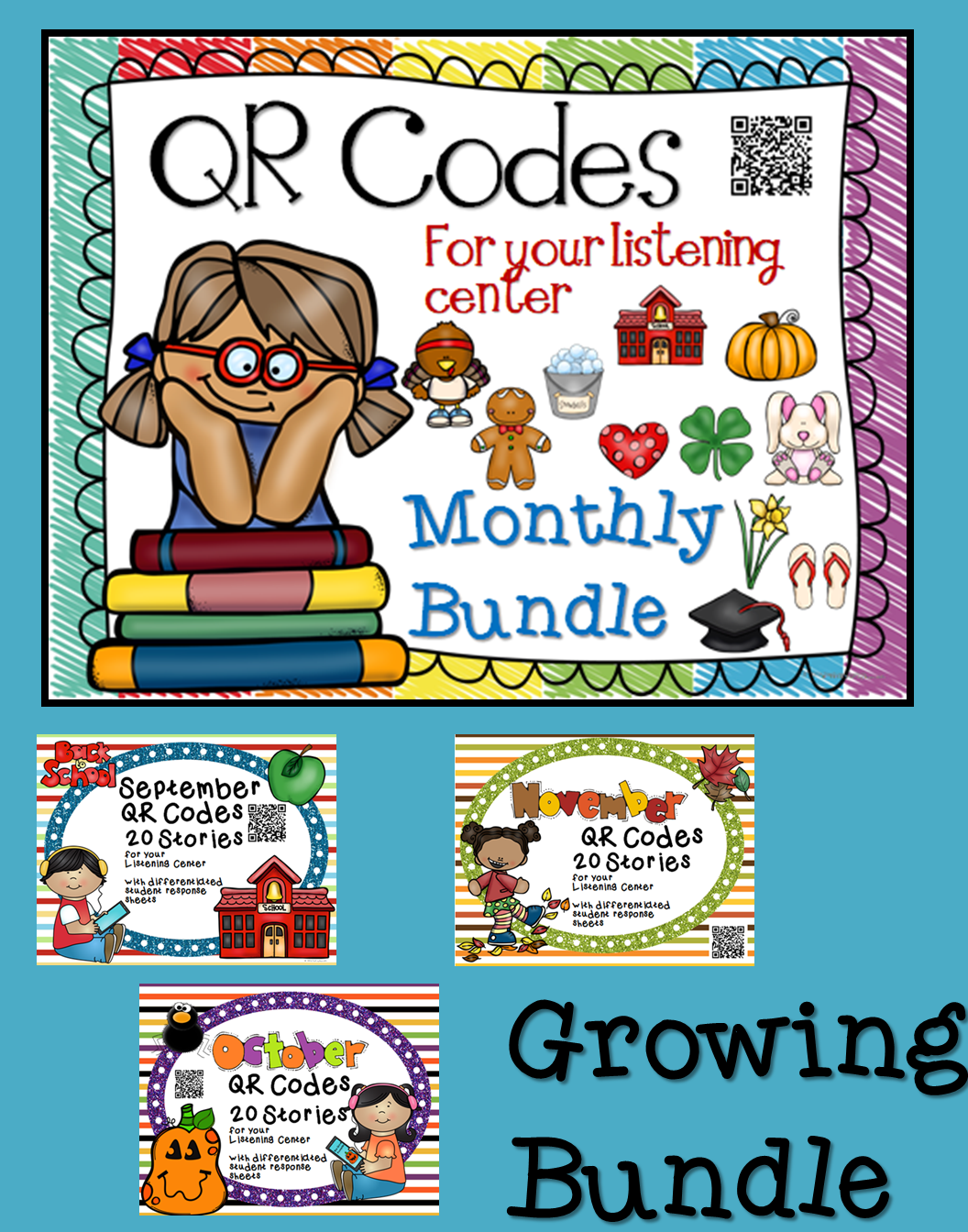 QR Code Listening Center Bundle - Listen To Reading Ipad PNG