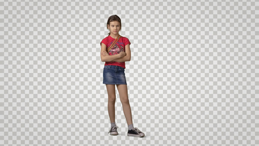 Little Girl In Red T-shirt Stands, Looks, Waits Somebody. Front View.  Footage With Alpha Channel. File Format - Mov. Codec - PNG Alpha Combine  These Footage PlusPng.com  - Little Boy PNG HD