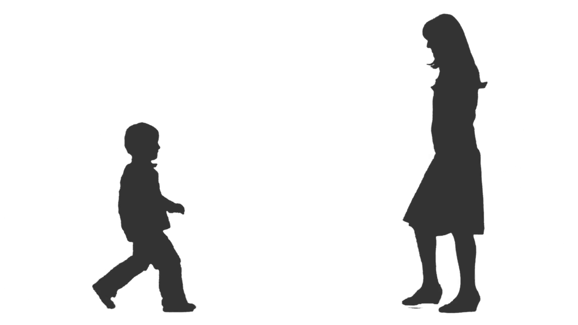 Silhouette of a little boy u0026 his mom going to meet each other. Side view.  Full HD footage with alpha channel Stock Video Footage - VideoBlocks - Little Boy PNG HD