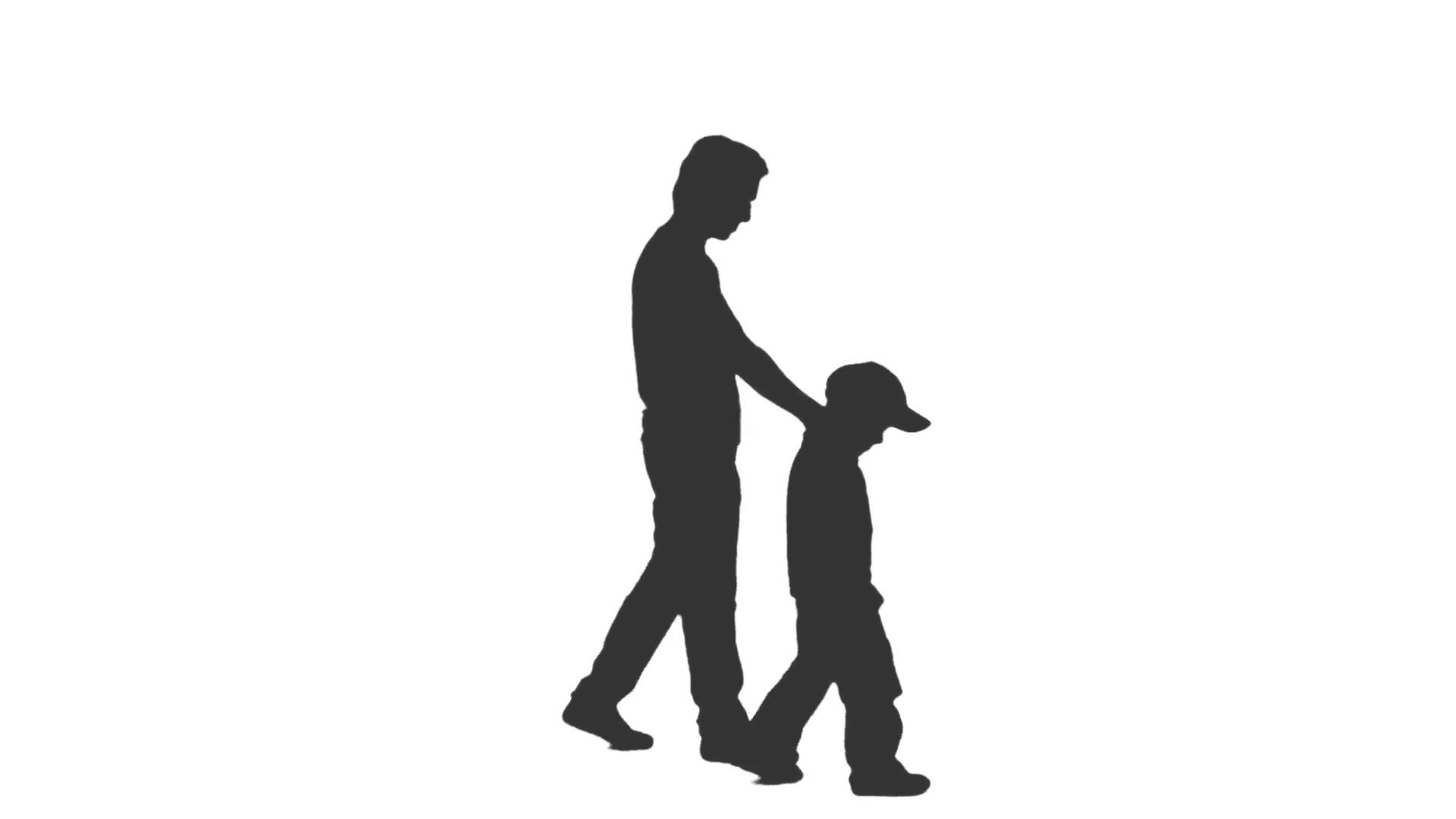 Silhouette of a man walking with a little boy. Side view. Full HD footage  with alpha channel Stock Video Footage - VideoBlocks - Little Boy PNG HD