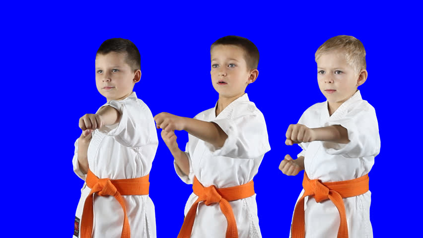 Three boys do karate kick on a transparent background. PNG Alpha - HD stock - Little Boy PNG HD
