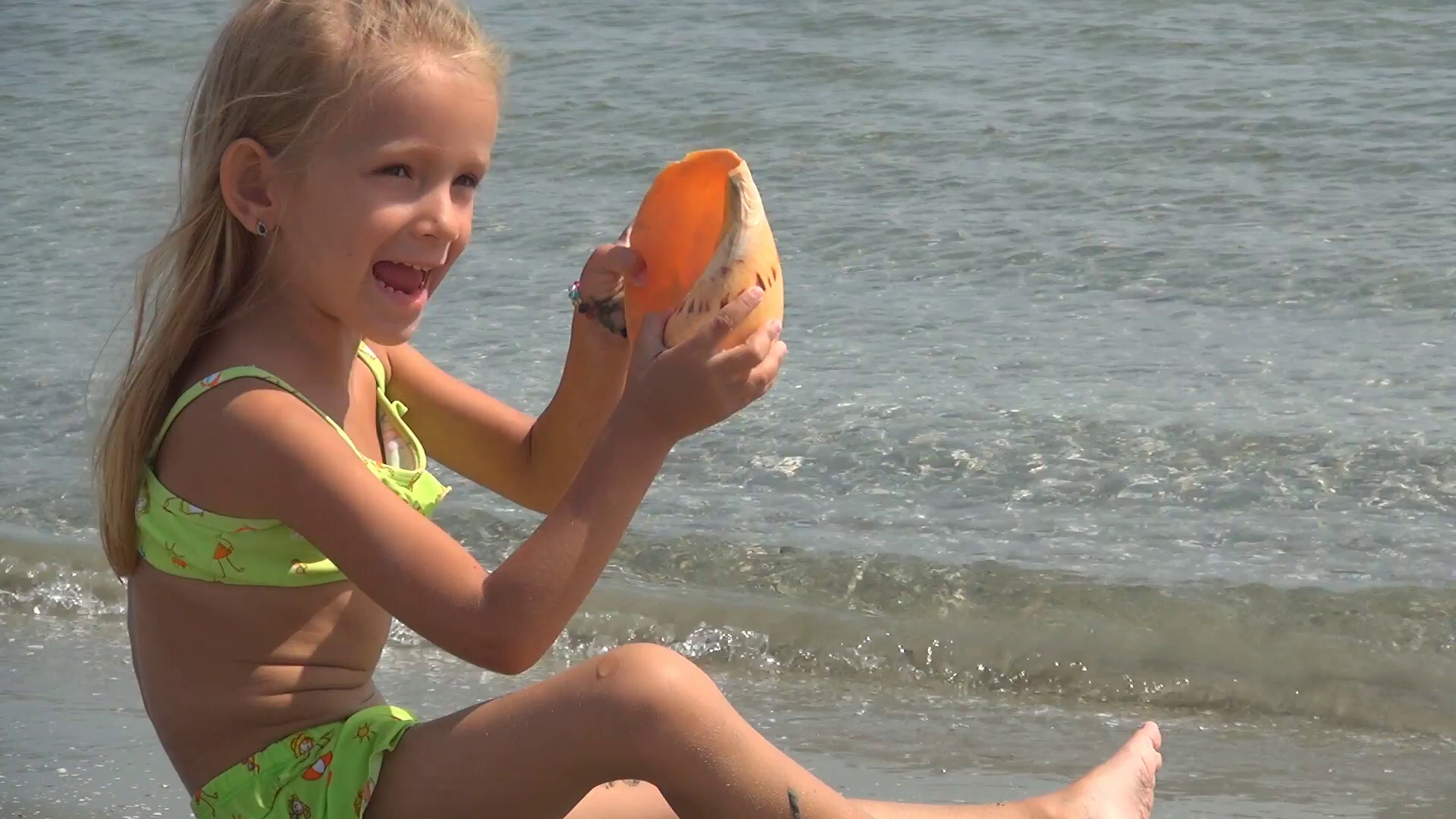 Happy Child Playing with Seashell, Little Girl on Sea Beach, Seashore,  Children Stock Video Footage - VideoBlocks - Little Children PNG HD