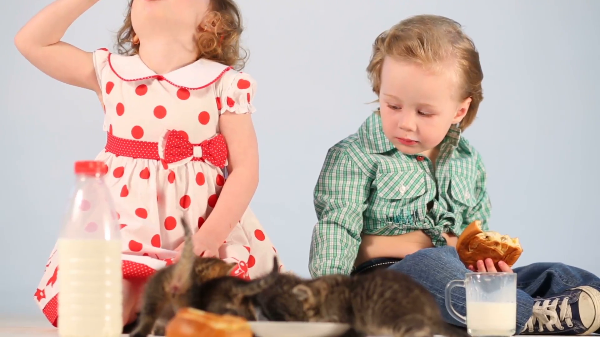 Two little children drink milk, eat buns and feeds the kittens by milk  Stock Video Footage - VideoBlocks - Little Children PNG HD