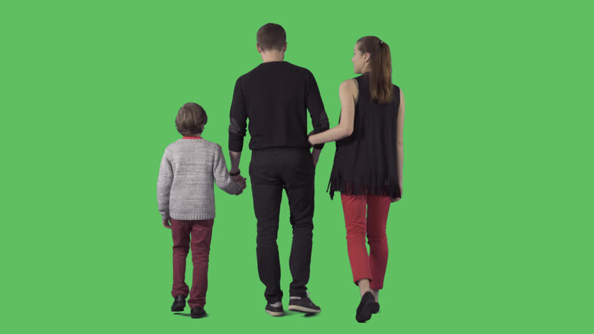 Young family with little boy is slowly walking away the camera. Camera is  static. - Little Children PNG HD