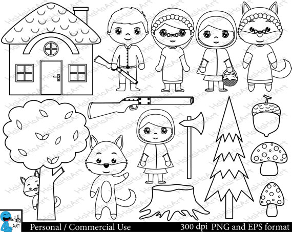 Little Red Riding Hood PNG Black And White-PlusPNG.com-570 - Little Red Riding Hood PNG Black And White