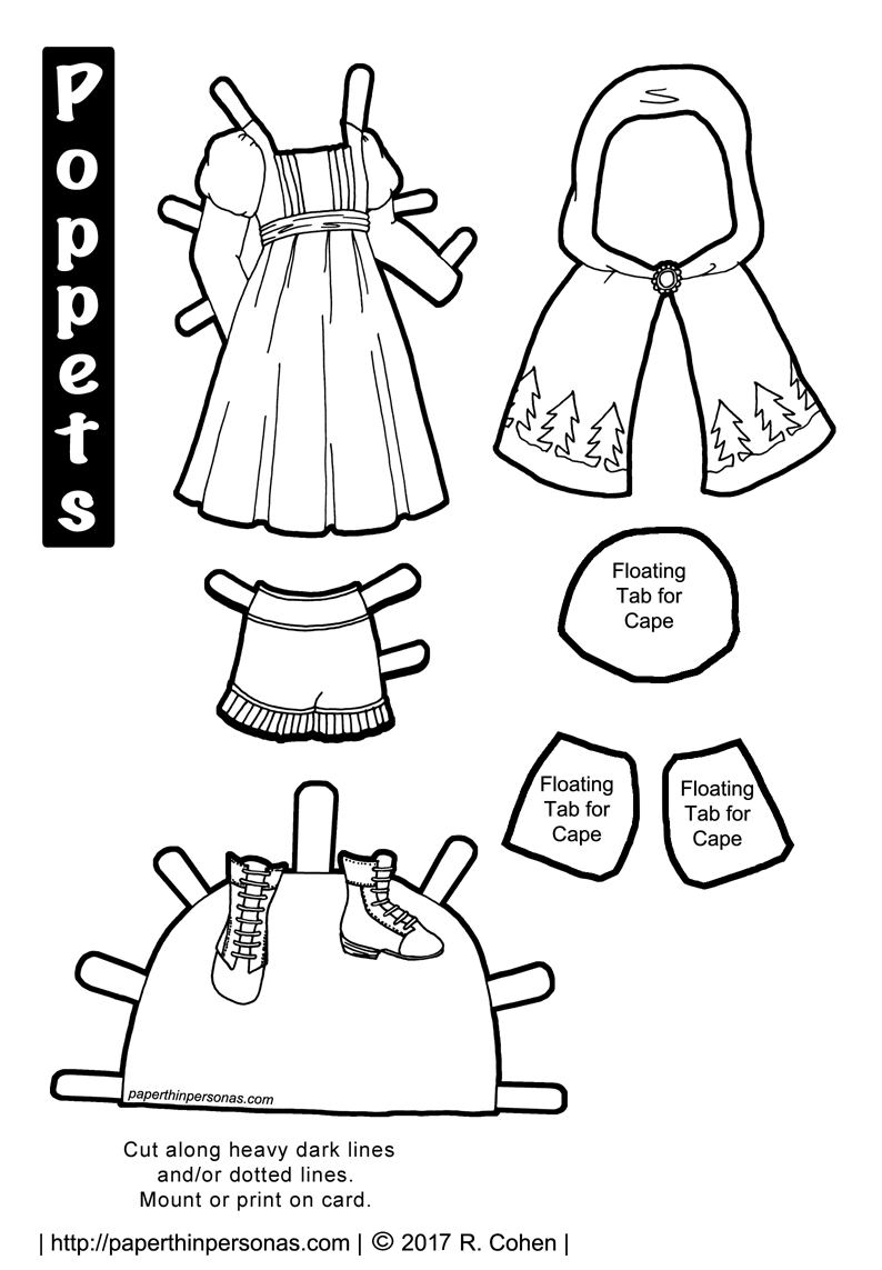 A Little Red Riding Hood paper doll costume to print, color, and play with - Little Red Riding Hood PNG Black And White