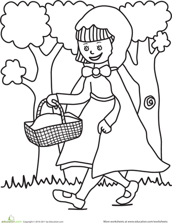 Color the Little Red Riding Hood Scene | Worksheet | Education pluspng.com - Little Red Riding Hood PNG Black And White