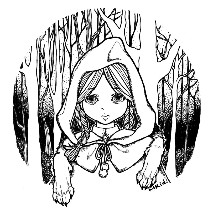 little red riding hood by MeowRiddle PlusPng.com  - Little Red Riding Hood PNG Black And White