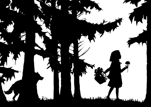 Little Red Riding Hood - Laura Barrett - Illustration Portfolio - London  Based Freelance Silhouette u0026 Pattern Illustrator - Little Red Riding Hood PNG Black And White