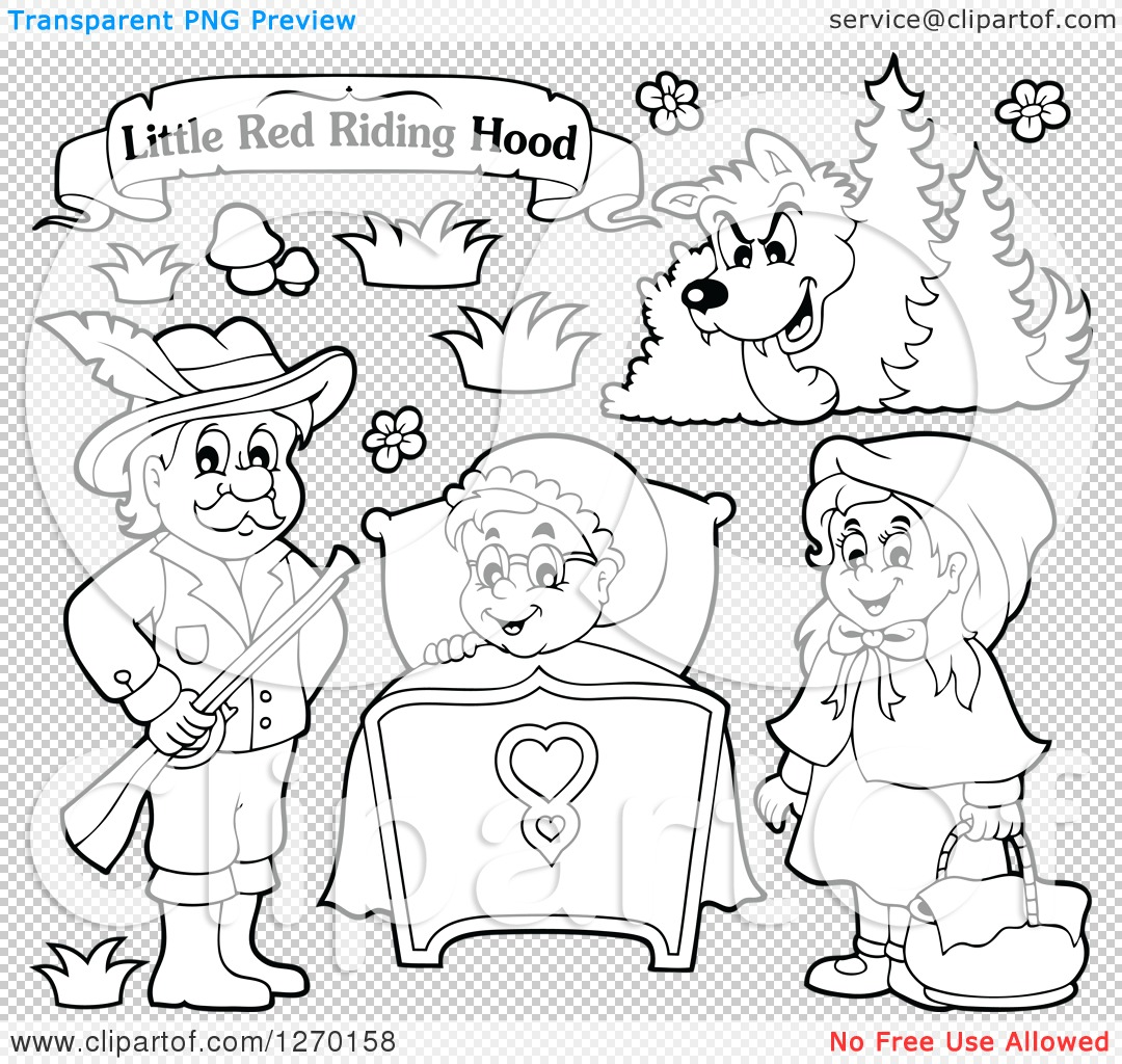 PNG file has a PlusPng.com  - Little Red Riding Hood PNG Black And White