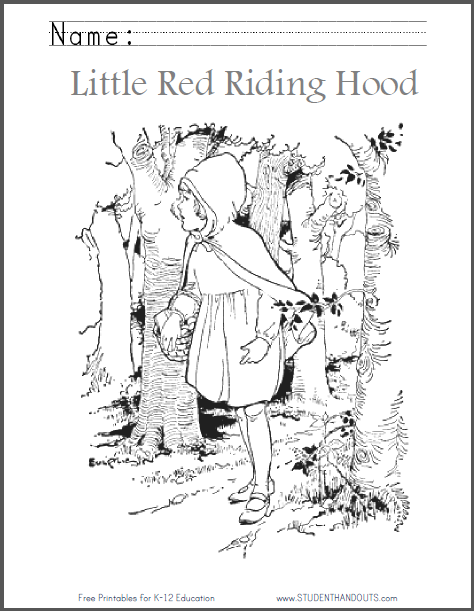 photo about Little Red Riding Hood Story Printable known as Small Crimson Driving Hood PNG Black And White Clear