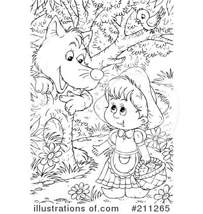 Royalty-Free (RF) Red Riding Hood Clipart Illustration #211265 by Alex  Bannykh - Little Red Riding Hood PNG Black And White