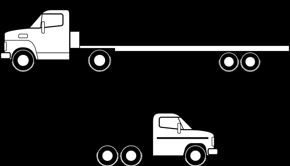 Lkw, Flachbett, Fahrzeug, Verkehr, Versandkosten - Lkw PNG Black And White