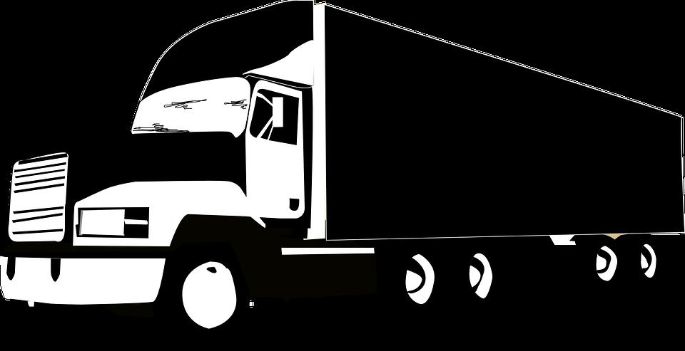 Lkw, Riesige, Fahrzeug, Transport, Logistik, Schwarz - Lkw PNG Black And White