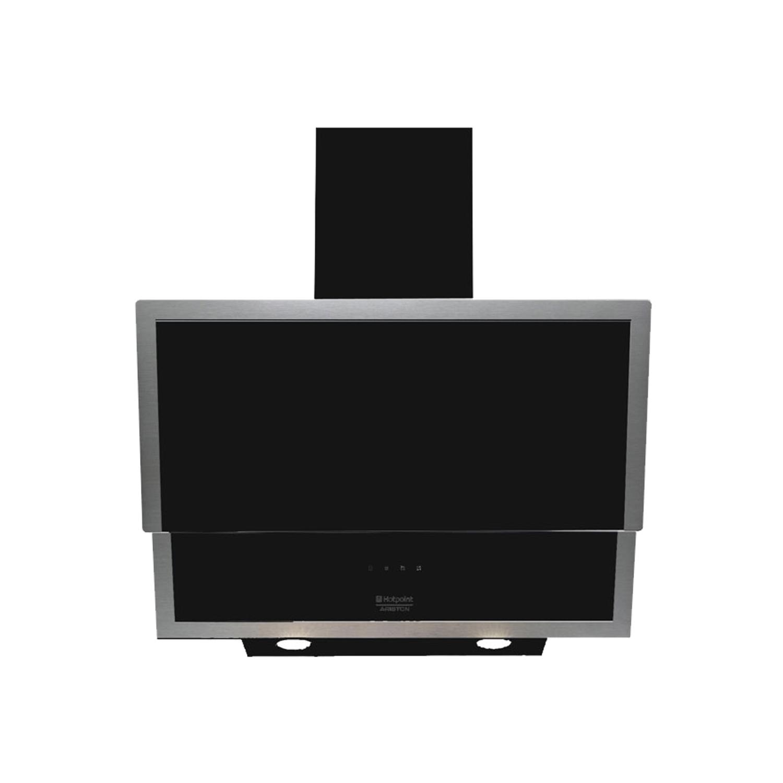 Hotpoint-Ariston HLQV 6.S LT (K).HA Davlumbaz, Siyah Cam, 60cm - Logo Ariston Black PNG