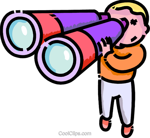 boy looking through binoculars Royalty Free Vector Clip Art illustration - Looking Through Binoculars PNG