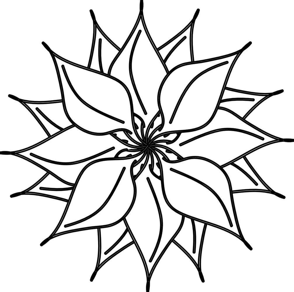 Lotus Flower Black And White PNG - 87937