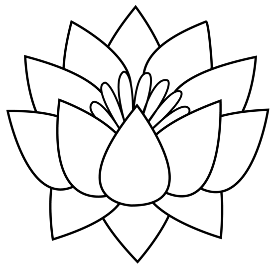 Lotus Flower Black And White PNG - 87936