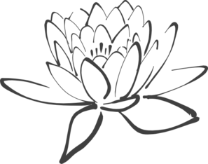 Lotus In Dark Gray Clip Art - Lotus Flower Black And White PNG