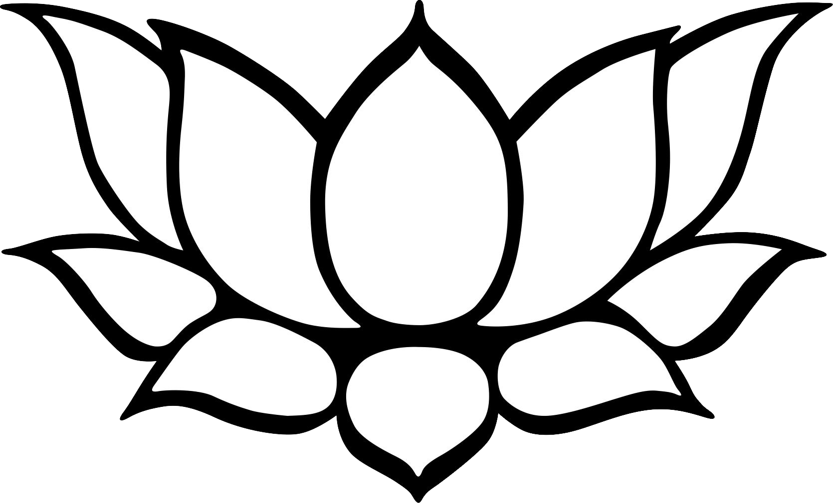 Lotus Flower Black And White PNG - 87941