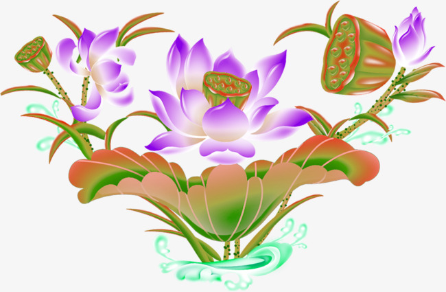 Decorative lotus flower HD material, Flower Hd Material, Ps Late Creative Floral Design,