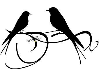 Love Bird Silhouette Clip Art - PNG and SVG - Love Birds - Bird Clipart - - Love Birds PNG