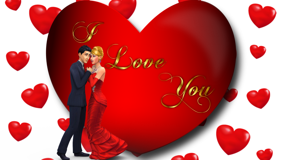 I Love You Loving Couple Red