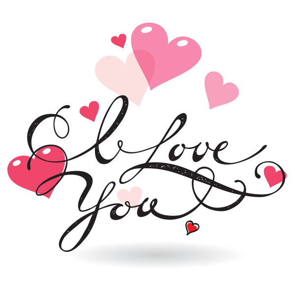 Pretty Love Message - Love You PNG HD