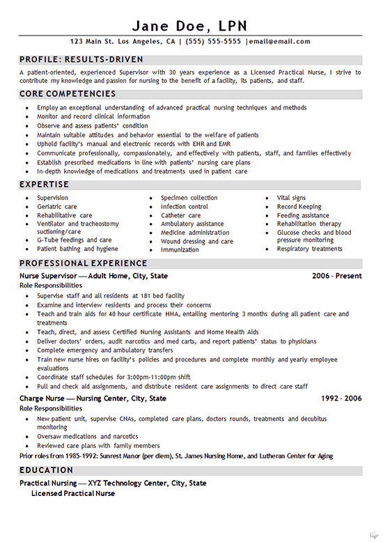 nurse lpn resume example sample - Lpn PNG