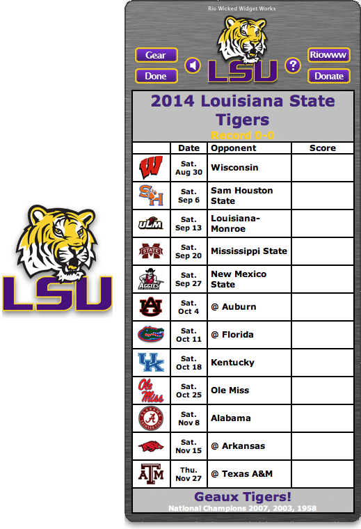 Free 2014 LSU Tigers Football Schedule Widget - Geaux Tigers! - National  Champions 2007, - Lsu Football PNG Free