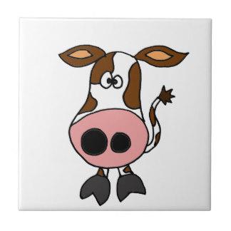 Lustiges Brown und weiu0026#223;er Kuh-Cartoon Fliese - Lustige Kuh PNG
