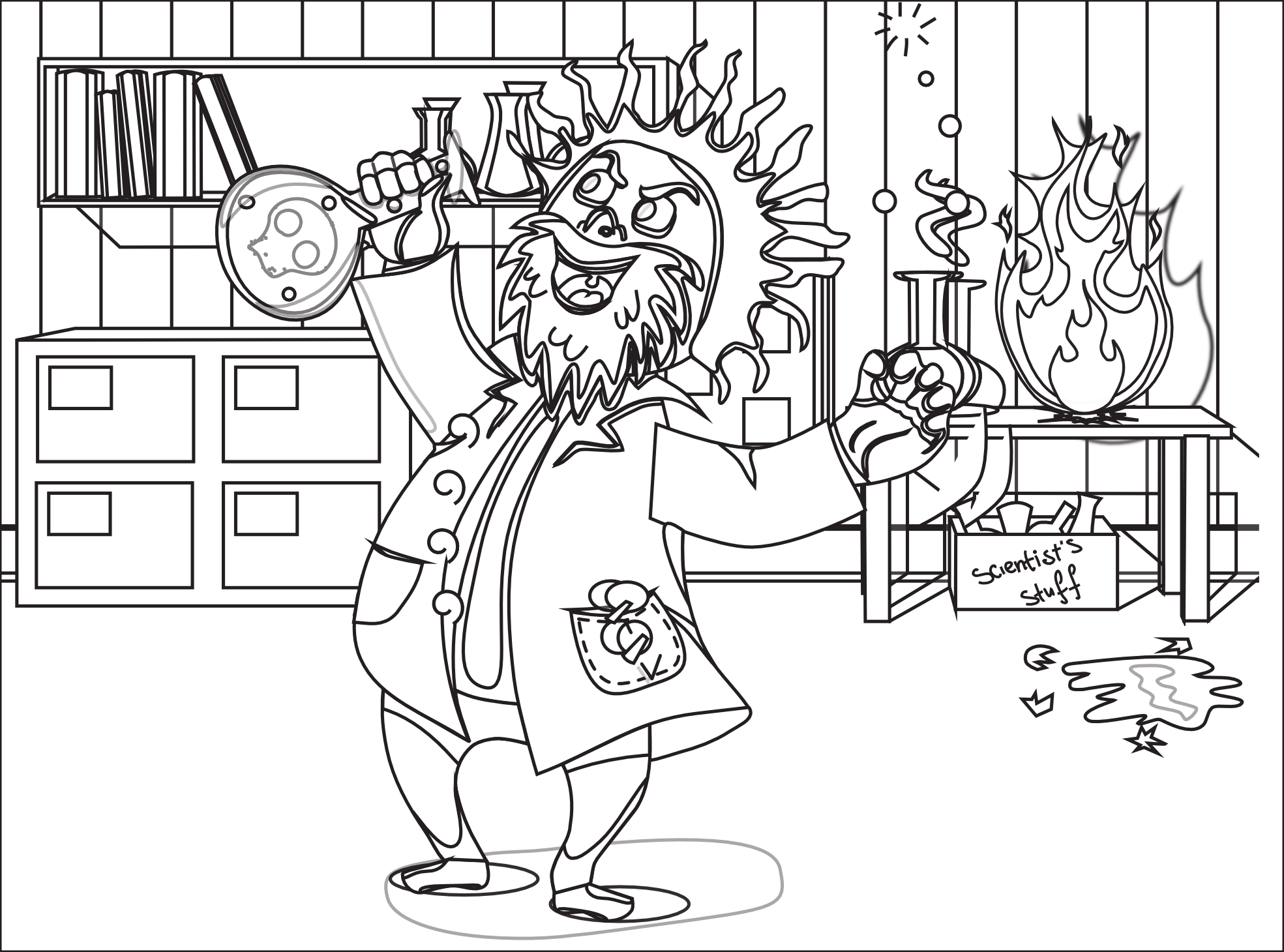 PlusPng.com Mad Scientist Black White Line Art Coloring Book Colouring  1969px.png .