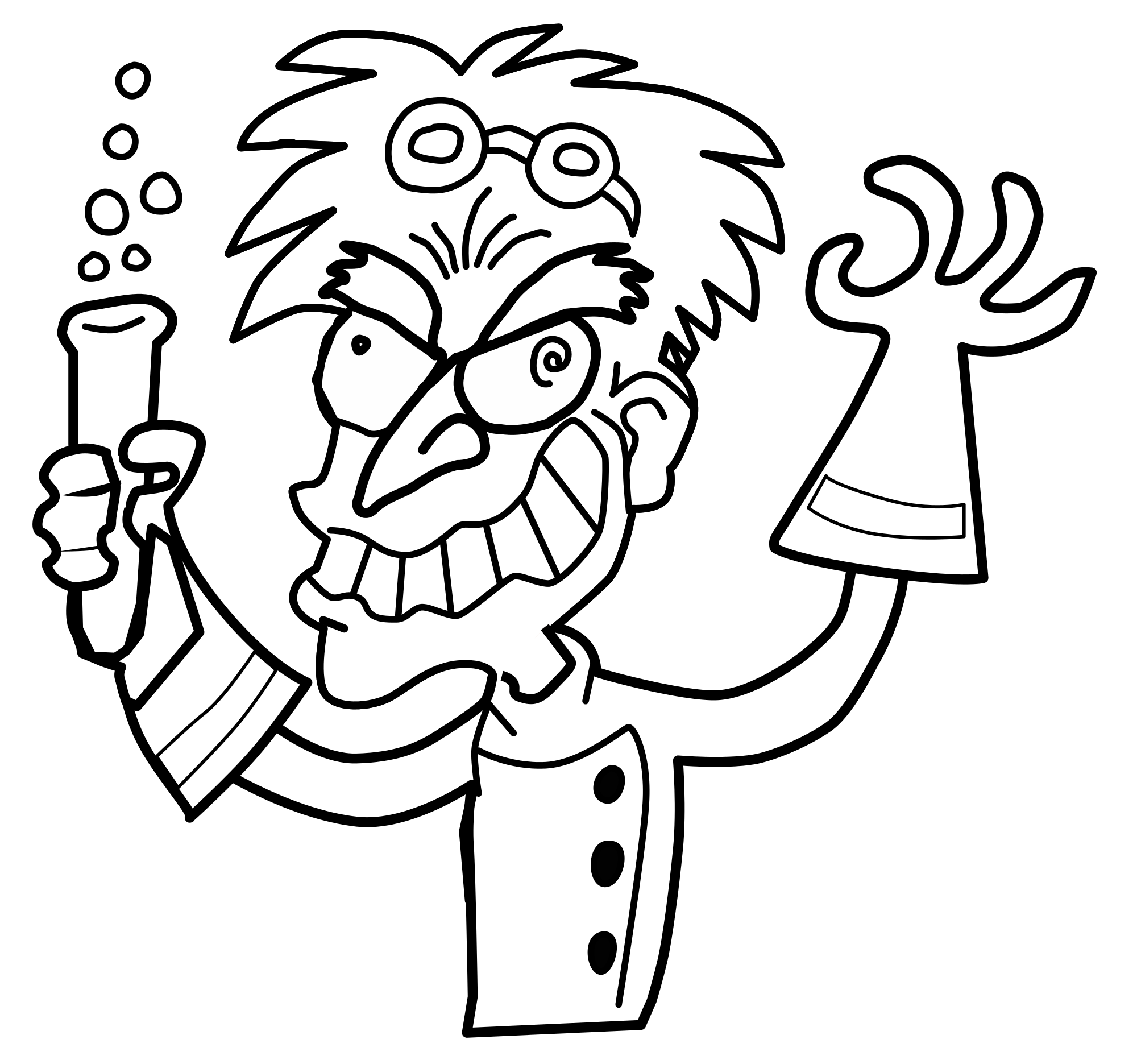 Mad Scientist PNG Black And White