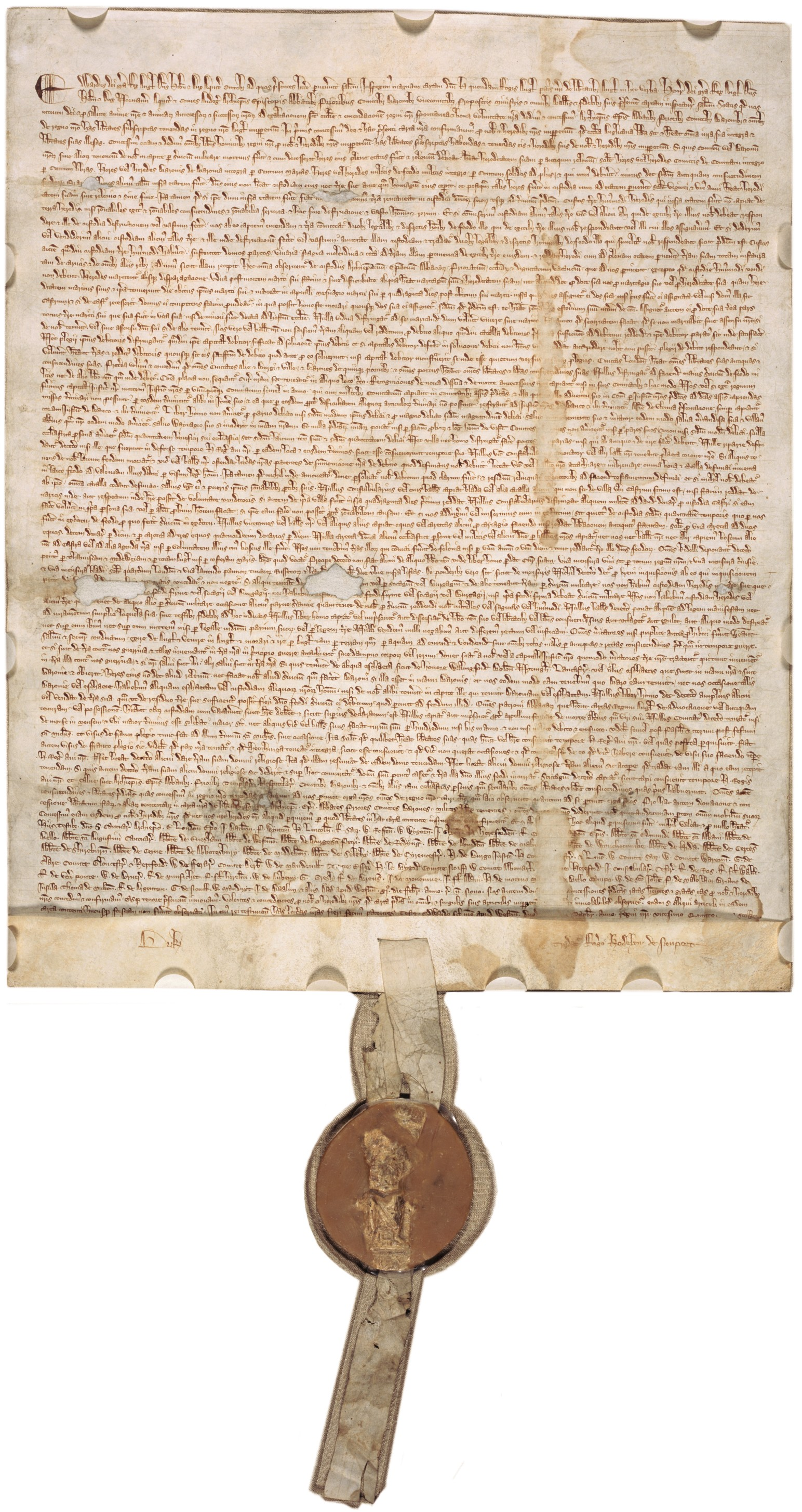 File:Magna Carta (1297 version with seal, owned by David M Rubenstein) - Magna Carta PNG