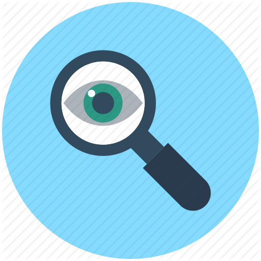 exploration, eye, magnifier, magnifying glass, search icon - Magnifying Glass And Eye PNG