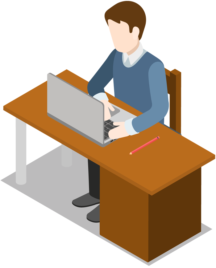 Business man with the laptop sits at a table - Man At Desk PNG