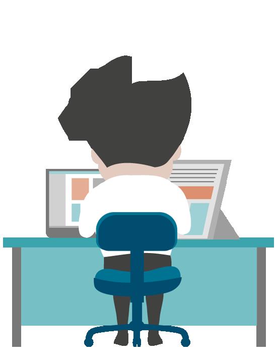 Cartoon Business man working at office desk - Man At Desk PNG