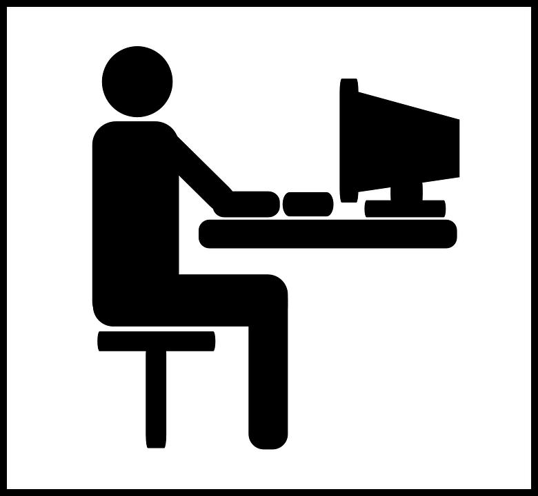computer desk man pictogram work sit office - Man At Desk PNG